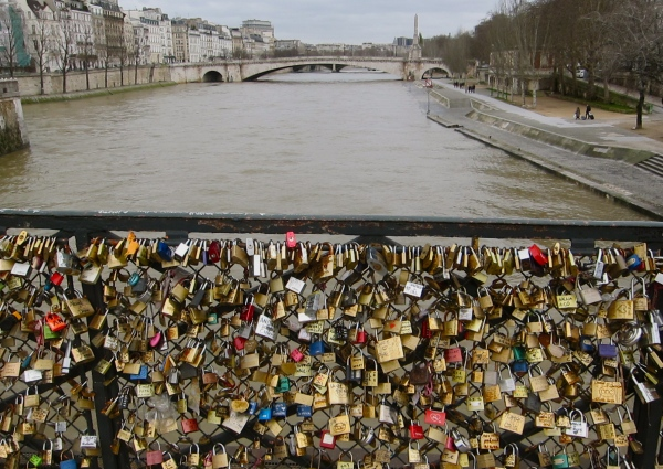 Locks of Love - on a bridge above the Seine River