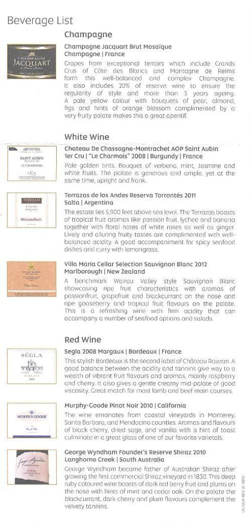 Etihad wine list 2012