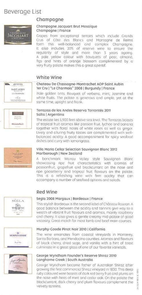 Etihad wine list 2012