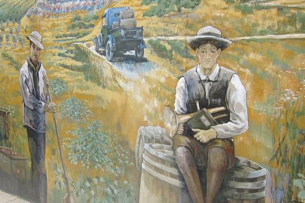 Healdsburg mural of wine country